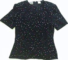 Vintage Stenay Sequined Beaded Top Size Medium 100% Silk Black  #Stenay #Top