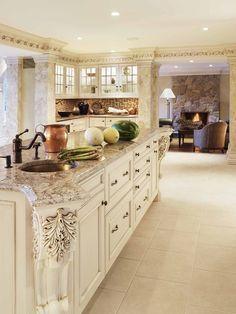 Colonial White Granite With Off White Cabinets Google Search White Kitchen Interior Design Antique White Kitchen White Kitchen Interior