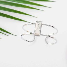 Rectangle Bangle Silver White Marble