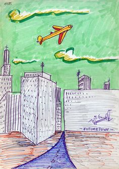 Futuretown, 1985 by J.G.Wind / Pittura metafisica / Neo metaphysical art