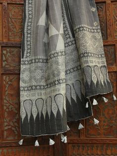 Ajrakh Wool & Cotton Stole with Tassels. Gujarat, India.