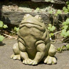 Campania International Jumper The Bullfrog Cast Stone Garden Statue English Moss - A-362-EM, CIB572-2
