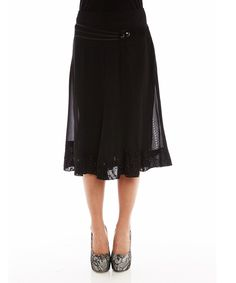 Loving this Miss Nikky Black Bejeweled A-Line Skirt on #zulily! #zulilyfinds
