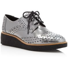 Rebecca Minkoff Pandora Metallic Oxfords ($250) ❤ liked on Polyvore featuring shoes, oxfords, gunmetal, round chimney cap, women shoes, womens oxford shoes and polish shoes