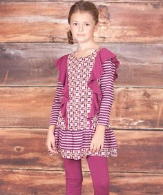 Rich with ruffles and pretty pairing of prints, this duo is ready for a walk on the bright side. Simple pull-on fits on the tunic and leggings along with soft cotton will keep darlings comfy with delightful ease.