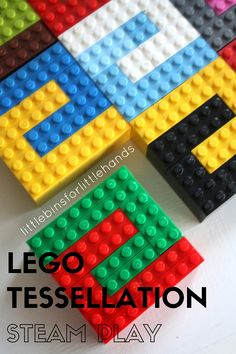 LEGO Tessellation Activity for Kids STEAM. Make a LEGO puzzle with basic bricks. Explore math, shapes, geometry, engineering, and design. LEGO math activity for kindergarten, early elementary, and grade school age kids. Math and art for STEAM