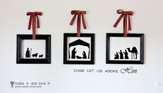 manger scene in silhouettes- so neat and simple looking Christmas Vinyl, Christmas Nativity, Noel Christmas, Winter Christmas, Christmas Ideas, Christmas Printables, Christmas Scenes, Christmas Time Is Here, Christmas And New Year