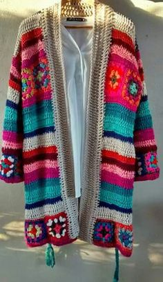 Quiero tejer Hippie Crochet, Crochet Chain, Crochet Trim, Knit Crochet, Crochet Cardigan Pattern, Crochet Jacket, Crochet Patterns, Moda Crochet, Finger Crochet