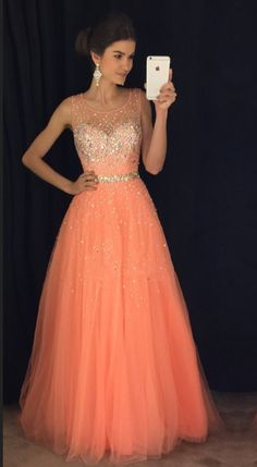 Coral Prom Dresses,cap Sleeves Prom Gowns,long Evening Dress,beaded Prom Dresses 2017 on Luulla Pageant Dresses For Women, Grad Dresses Long, Prom Dresses 2017, Long Prom Gowns, A Line Prom Dresses, Trendy Dresses, Modest Dresses, Evening Dresses, Coral Prom Dresses