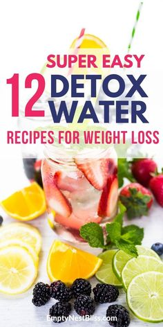 12 tasty detox water recipes to help you lose weight and stay hydrated.  Easy recipes you can DIY and keep in your refrigerator. #weightlossinspiration #weightlosshacks #weightlosstransformation #weightlosstricks #healthandfitness