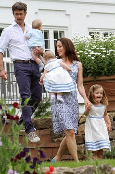 Prince Frederik and Princess Mary with three of their children: Princess Isabella, Prince Vncent, and Princess Josephine (their eldest, Prince Christian not pictured)