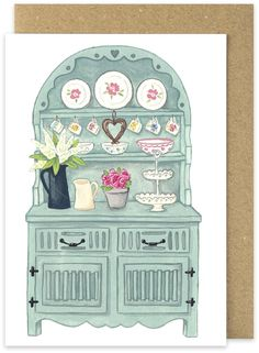 Duck Egg Blue Welsh Dresser Card. Chalk painted dresser shabby chic by Megan…