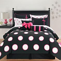 @Overstock - This beautiful comforter set, which features two decorative pillows, brightens up the decor in any room with an interesting mixture of vibrant colors on each and every accessory. Large adorable dots adorn the machine washable polyester.