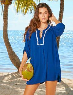 Coastal Crush French Terry Fringe Tunic Cabana Life 50+ UPV Sun Protective Clothing