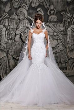 Free shipping 2014 Designers White Lace And See Through Mermaid Wedding Dresses With Removable Train Bridal Dresses Tulle