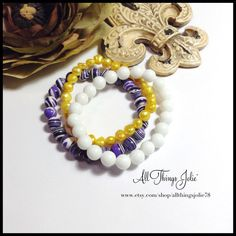 LSU Tigers Jewelry Bracelet - Stretch Stackable Freshwater Pearls and Gemstone Louisiana Tiger Jewelry by All Things Jolie