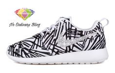 new product 915a0 cc742 Nike Bling Roshe Run Women s Print by NoOrdinaryBling on Etsy Military  Wedding, Glitter Nikes,