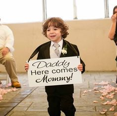 Daddy, Here comes MOMMY -  Here comes the bride - One sided -  Wedding Sign, Flower Girl Sign, Ring Bearer, Aisle sign via Etsy