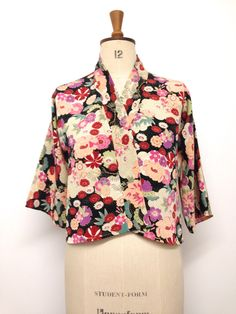 Summer Jacket - Kimono fabric Japanese Floral Print Jacket for women