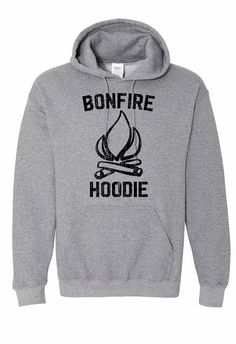 Bonfire Hoodie. Camping Hoodie. Brand : Gildan Brand Hoodie Colors : Graphite Heather , Sports Grey , Ash Grey , Dark Heather , Heliconia / Hot Pink, Red , Green. Made to order. Ships 2 - 3 business days via usps Via Priority Mail. If you are unsure about something or have a question please send a message about your inquiry. Note : Please check sizing chart to ensure you order the correct size and color. Just a friendly reminder.  Gildan Hoodie Specs:  8.0 oz., 50/50 cotton/pol...