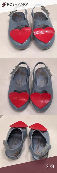 🎉Editors's Pick 🎉 like NEW!! Vivienne Westwood Anglomania + Mini Melissa blue Mary Jane with red heart ❤️ Limited Edition Mini Melissa. Won't find anywhere else. Fruit scented. No scuffs. Excellent condition. Worn only a couple of times. Size is EUR 22/23 USA 7 about 5.13-5.39 in. Bottom measures 5.5 in. Smoke and pet free household. Mini Melissa Shoes