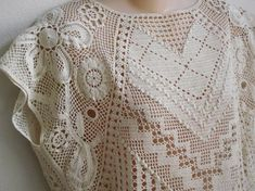 Vintage Crochet Top ecru cotton Boho Hippie 70's by divasvintage, $20.00
