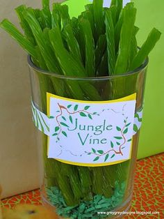 """jungle vines - I couldn't find just green and my son's party had different animal areas so I used the other colors as """"coral sticks"""" in the ocean area"""