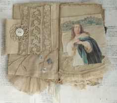 Mixed Media Fabric Collage Book of Heavenly Angels | eBay