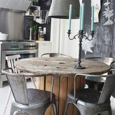 cable drum for dining or kitchen table - Cable drums can be re-purposed in many ways and take up little space if you want to create a cosy nook in the kitchen for dining. - See more at: http://www.home-dzine.co.za/crafts/craft-recycled-kitchen.htm#sthash.PhT8JNrj.dpuf