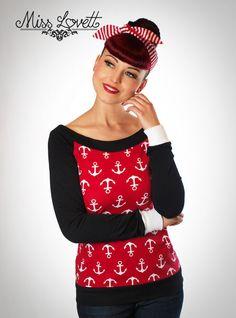 GWEN_01 Rot/Weiß Anker Longsleeve von MISS LOVETT® - Mit Liebe handgefertigt seit 2011 auf DaWanda.com