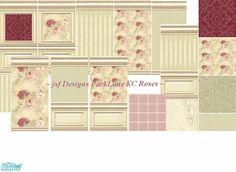 jsf Designs ParkLaneKCRoses #Georgian #Regency #Victorian #parklane #paneling #wallpaper #paint #flooring #floor #carpet #floral #rose #TS2 #thesims2 #customcontent #cc