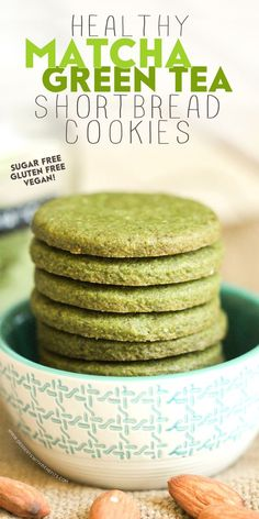 Healthy Matcha Green Tea Almond Shortbread Cookies — sweet, buttery, sophisticated, and seriously delicious! You'd never know these are sugar free, gluten free, dairy free, and vegan!