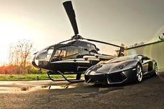 Private Helicopter with a matching lamborghini aventador Drones, Luxury Travel, Luxury Cars, John Kerry, Lamborghini Aventador Lp700 4, Private Plane, Private Jets, Adventure Holiday, Ww2 Planes