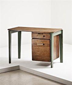 'Dactylo' desk, Manufactured by Les Ateliers Jean Prouvé, France, c.1942