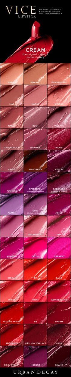 Shop our original, creamy badass finish of Vice Lipstick! With 42 shades to choose from, you're bound to find your perfect match. Sephora Lipstick, Lipstick Swatches, Makeup Swatches, Lipstick Shades, Black Lipstick, Matte Lipstick, Liquid Lipstick, Urban Decay Vice Lipstick, Urban Decay Makeup
