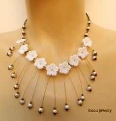 Statement flower necklace  Cherry blossom  White by insoujewelry