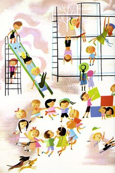 Mary Blair On the Playground illustration Mary Blair, Catholic All Year, Illustrations Vintage, Arte Dachshund, Disney Artists, Little Golden Books, Vintage Children's Books, Children's Book Illustration, Kids Playing