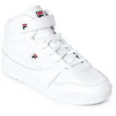 Fila White BBN 86 High-Top Sneakers (160 ILS) ❤ liked on Polyvore featuring shoes, sneakers, white, high-top sneakers, white velcro sneakers, white high tops, hi top velcro sneakers and white shoes