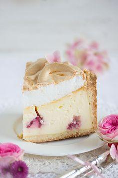 raspberry polka-dot cheesecake with meringue