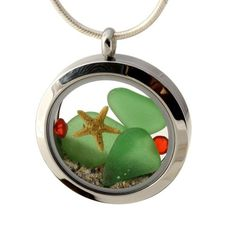 Hometown Holiday - Green Sea Glass With Starfish, Red Gems & Real Sand Locket