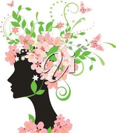 iCLIPART - Silhouette Clip Art Illustration of a Woman with Spring ...