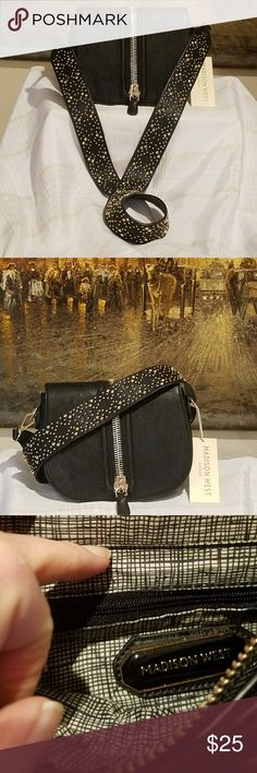 GOLD ACCENT CROSSBODY Uniquely decorated black crossbody purse.  The purse is in excellent condition!  Straps are detachable. Total length of the strap (hook to hook)is 44inches.  Purse is 6 inches tall and 8 1/2 inches wide. Madison West Bags Crossbody Bags