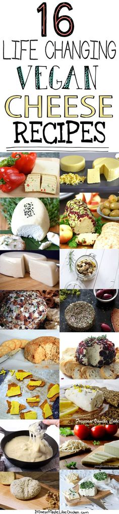 16 Life Changing Vegan Cheese Recipes - hese dairy free cheese recipes will satisfy all your cheesy needs. Vegan Cheese Recipes, Vegan Foods, Vegan Dishes, Dairy Free Recipes, Vegan Gluten Free, Paleo Recipes, Whole Food Recipes, Paleo Diet, Vegan Sauces