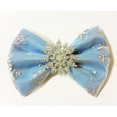 Elsa Inspired Frozen Glitter Snowflake Fabric Hair Bow!, Christmas, Holiday, Cosplay, & Dress Up. For Adults and Kids.