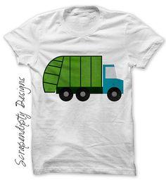Garbage Truck Iron on Transfer Garbage by ScrapendipityDesigns