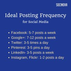 Ideal posting frequency for #socialmedia from #Socinova