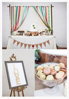Ribbon backdrop for sweets table