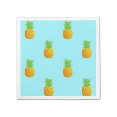 Pineapple Pattern on Blue Disposable Napkins. A repetitive pattern of simple pineapples on a bright blue background. This is a cute and summery pattern perfect for many occasions.