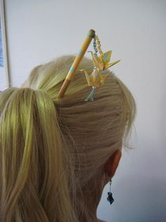Bamboo Hair Chopstick with Origami Cranes by FlyingCraneOrigami, $10.99