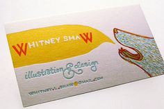 letterpress business cards - clever illustration of a wolf with funky type and wild, unexpected but not too loud colors